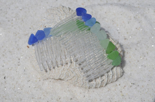 Genuine Surf-Tumbled Rainbow Colored Sea Glass Hair Combs (Quantity of 2)