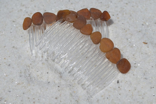 Brown Sea Glass Hair Combs