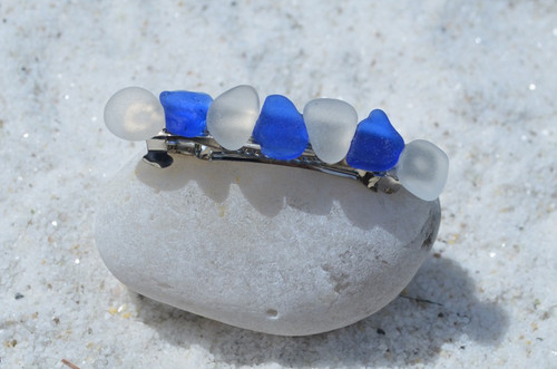 Blue and White Sea Glass Hair Clip