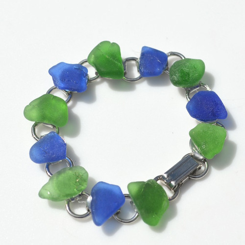 Genuine Surf Tumbled Frosted Green and Cobalt Blue Sea Glass Bracelet - 3 Size Options - Made to Order