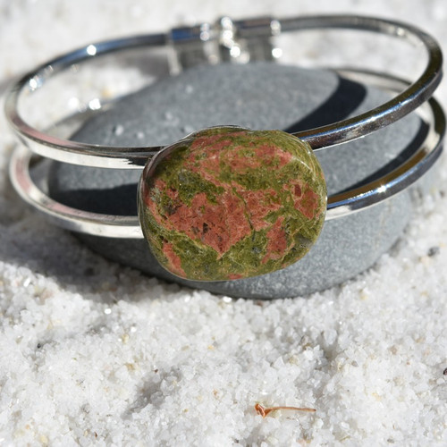 Unakite Jasper Palm Stone Bracelet