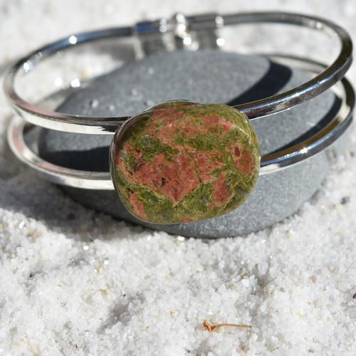 Unakite Jasper Palm Stone Silver Bangle Cuff Bracelet