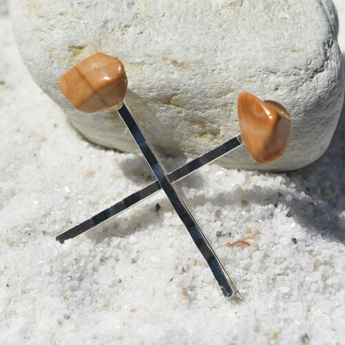 Tumbled Yellow Jasper Stone Hair Pins