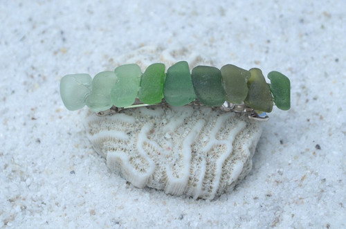 Genuine Shades of Green Sea Glass French Barrette - 60 mm