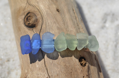 Rainbow of Blues and Aqua Sea Glass French Barrette