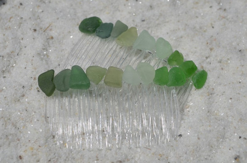 Green and Aqua Surf Tumbled Sea Glass Hair Combs