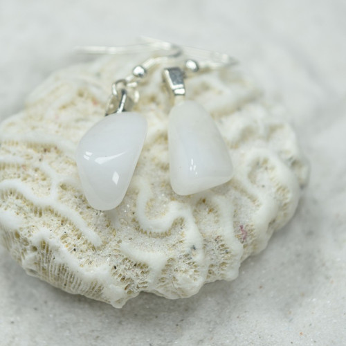 Custom Tumbled Snow Quartz Stone Dangling Earrings - 1 Set