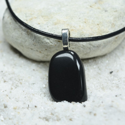 Custom Tumbled Apache Tears Stone Necklace - Choose Sterling Silver Chain or Leather Cord - Quantity of 1