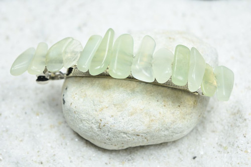 "Green Jade Stone French Barrette Hair Clip 4"" or 100 mm Length"