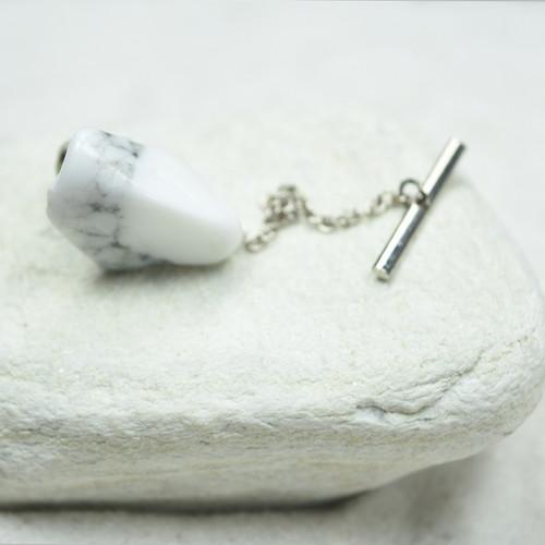 Custom White Howlite Stone Tie Tack Handmade - Quantity of 1