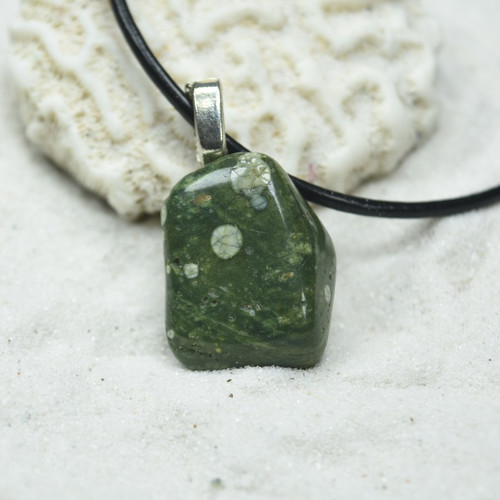 Custom Tumbled Rhyolite Stone Necklace - Choose Sterling Silver Chain or Leather Cord - Quantity of 1