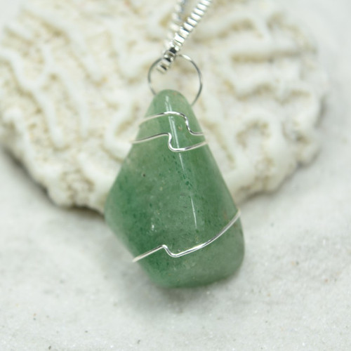 Custom Tumbled Green Aventurine Stone Wire Wrapped Necklace - Choose Sterling Silver Chain or Leather Cord - Quantity of 1