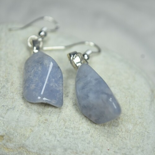 Blue Chalcedony Stone Earrings