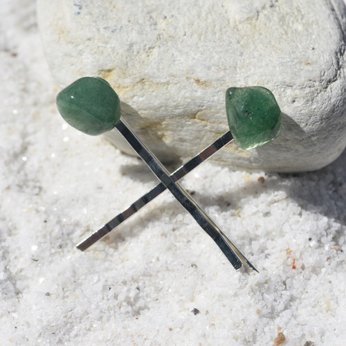 Green Quartz Stone Hair Pins (Quantity of 2)