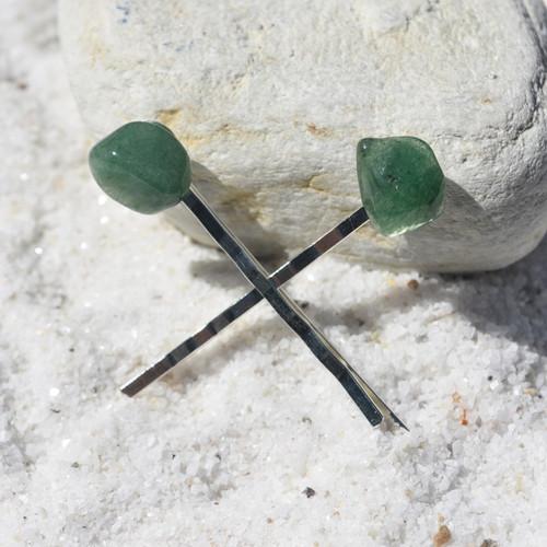 Green Quartz Stone Hair Pins