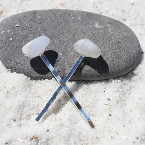 Blue Lace Agate Stone Hair Pins