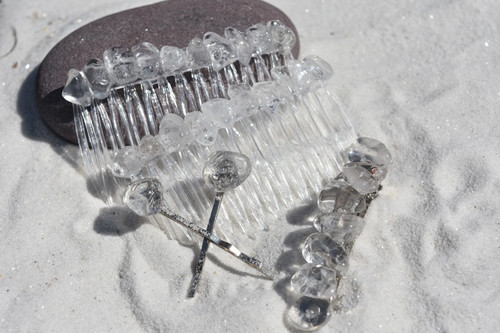Crystal Quartz Stone Hair Clip Set
