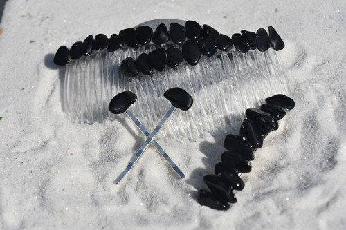 Apache Tears Stone Hair Clip Set - Includes 2 Hair Combs, 1 60 mm French Barrette, 2 Hair Pins