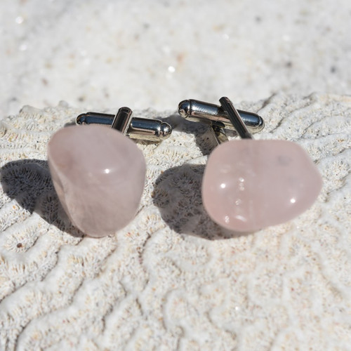 Custom Rose Quartz Stone Cufflinks Handmade - 1 Set