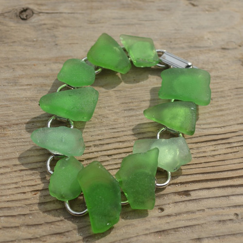 Surf Tumbled Green Sea Glass Bracelet