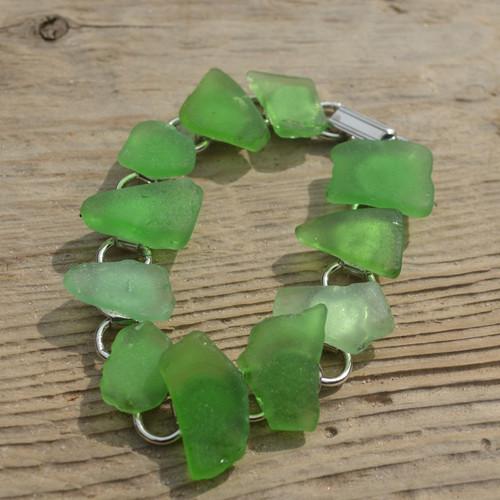 Surf Tumbled Green Sea Glass Bracelet