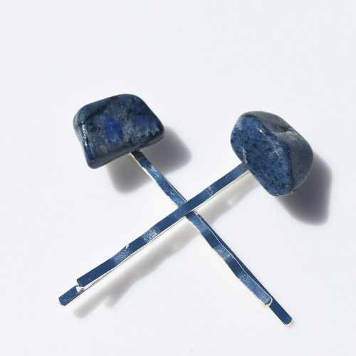 Dumortierite  Stone Hair Pins
