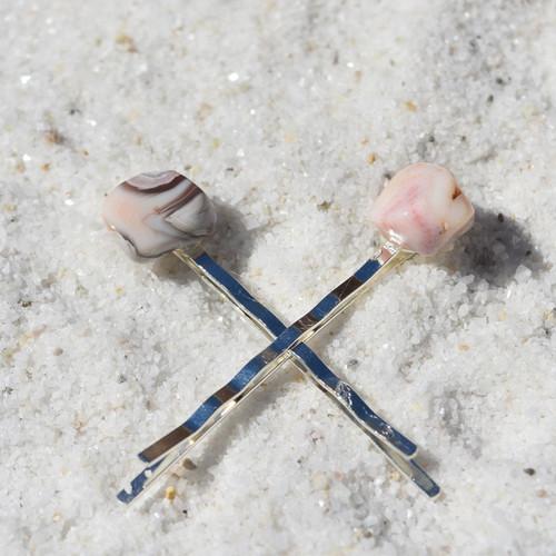 Pink Botswana Agate  Stone Hair Pins