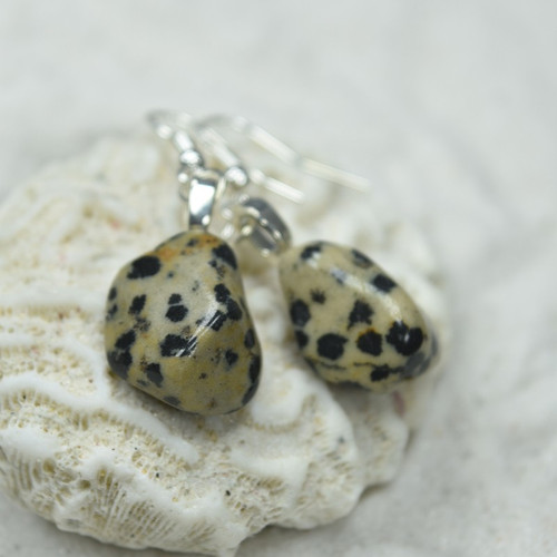 Dalmatian Stone Dangling Earrings