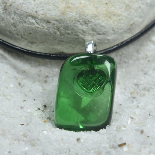 Custom Tumbled Green Obsidian Stone Necklace - Choose Sterling Silver Chain or Leather Cord - Quantity of 1