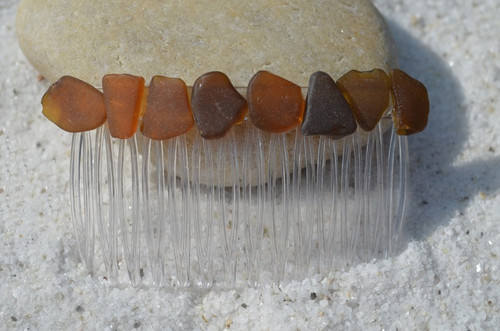 Amber Brown Sea Glass Hair Comb