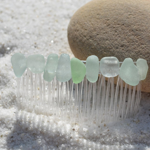 Single Genuine Surf-Tumbled Aqua Sea Glass Hair Comb