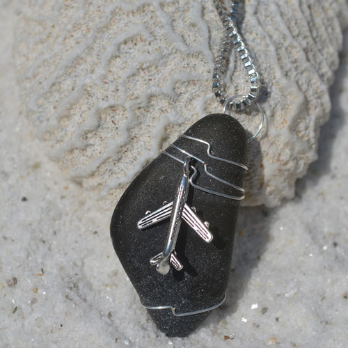 Wire Wrapped Airplane Necklace