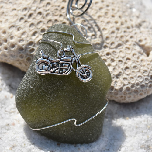 Surf Tumbled Sea Glass Motorcycle Ornament - Choose Your Color Sea Glass Frosted, Green, and Brown - Made to Order