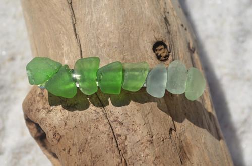 Green and Aqua Sea Glass Hair Clip