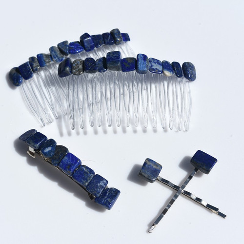 Lapis Lauzli Stone Hair Clip Set - Includes 2 Hair Combs, 1 60 mm French Barrette, 2 Hair Pins