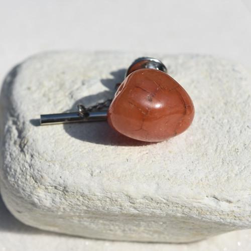 Tumbled Carnelian Stone Tie Tack