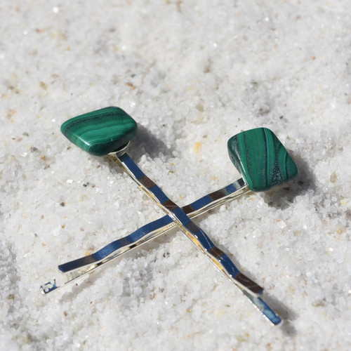 Malachite Stone Hair Pins