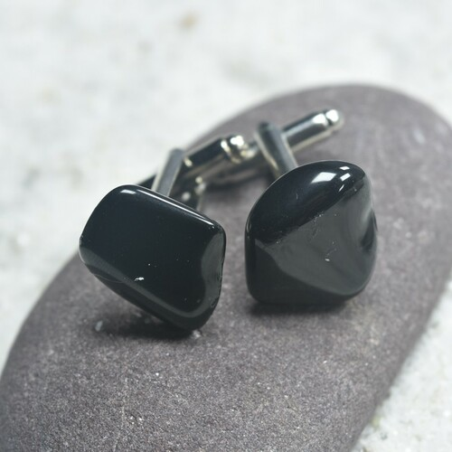 Apache Tears Stone Cufflinks Handmade - 1 Set - Made to Order