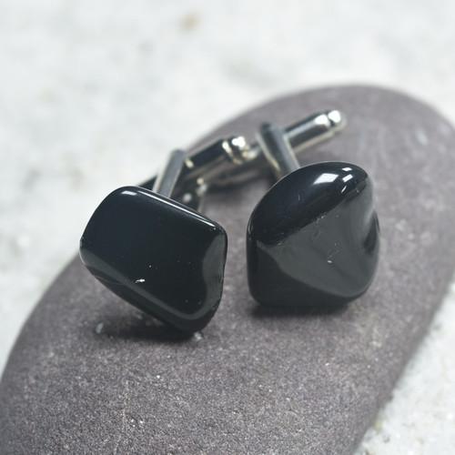 Custom Apache Tears Stone Cufflinks Handmade - 1 Set
