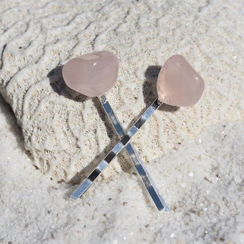 Rose Quartz Stone Hair Pins