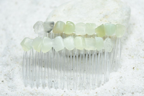 Green Jade Stone Hair Combs (Quantity of 2)
