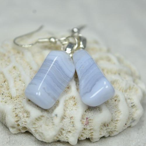 Blue Lace Agate Stone Earrings