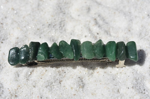 "Green Quartz Stone French Barrette Hair Clip 4"" or 100 mm Length"