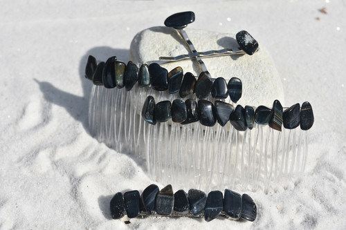 Blue Tiger's Eye Stone Hair Clip Set - Includes 2 Hair Combs, 1 60 mm French Barrette, 2 Hair Pins