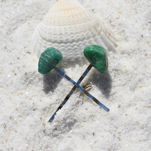 Amazonite Stone Hair Pins