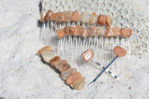 Peach Moonstone Hair Clip Set - Includes 2 Hair Combs, 1 60 mm French Barrette, 2 Hair Pins