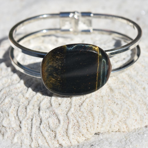 Blue Tiger's Eye Palm Stone Silver Bangle Cuff Bracelet
