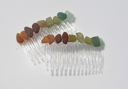 Colorful Sea Glass Hair Combs