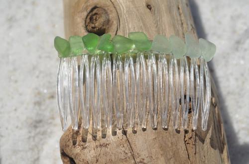 Green and Aqua Sea Glass Hair Comb