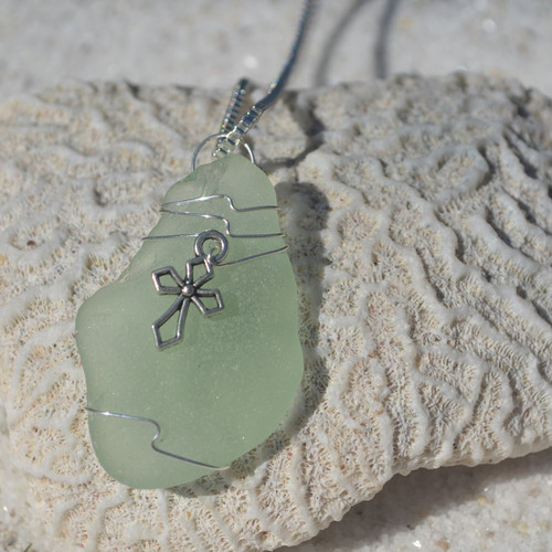 Custom Handmade Genuine Sea Glass Necklace with a Silver Cross Charm - Choose the Color - Frosted, Green, Brown, or Aqua-2